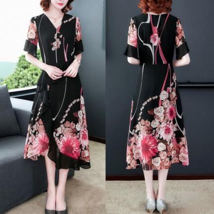 Đầm Họa Tiết Phối Bèo Tay Loe - KT2207
