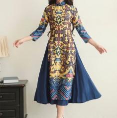 Áo dài phối váy tay dài thời trang ( vàng )  - KV1630