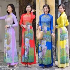 Áo dài truyền thống họa tiết hoa sen - KT2641
