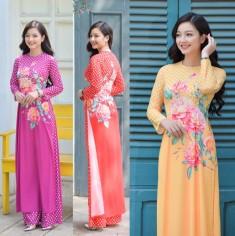 Áo dài truyền thống họa tiết hoa hồng - KT2642