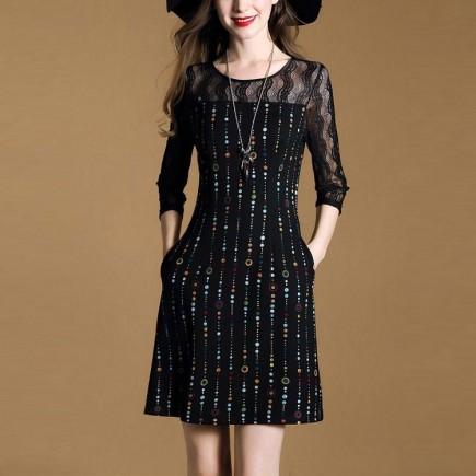 Đầm dạ tiệc họa tiết phối ren - KT2284