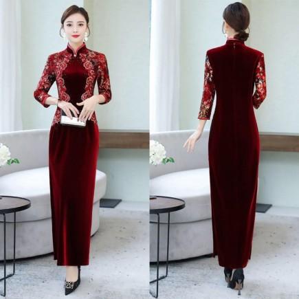 Đầm Nhung Cách Tân Thêu Hoa - KT2396