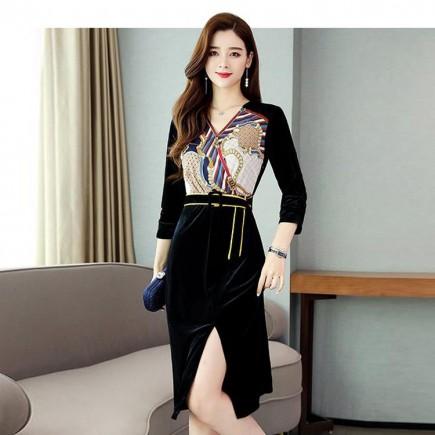 Đầm Nhung Body Họa Tiết Sang Trọng - KT2406