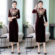 Đầm Nhung Thêu Hoa Dáng Dài - KT2423