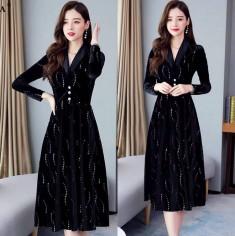 Đầm Nhung Đính Kim Sa Sang Trọng - KV2485