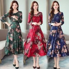 Đầm Xòe Họa Tiết Hoa Dáng Dài - KV2613