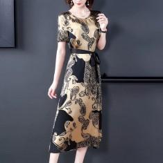 Đầm lụa họa tiết thắt nơ eo - KT2755