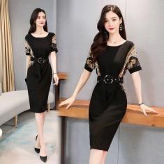 Đầm lụa họa tiết kèm thắt lưng - KT2800