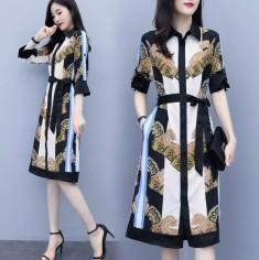 Đầm lụa họa tiết phối viền - KV2897