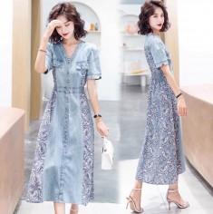 Đầm jean túi hộp phối họa tiết - KV2906
