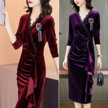 Đầm body vải nhung tôn dáng - KV3217