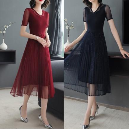 Đầm dập li chân váy lưới  - KV3250