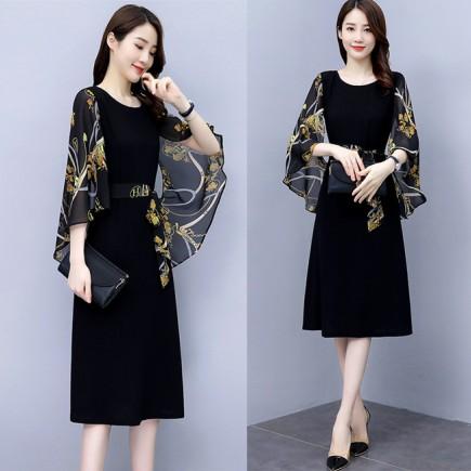 Đầm suông phối lụa cột eo - KT3319