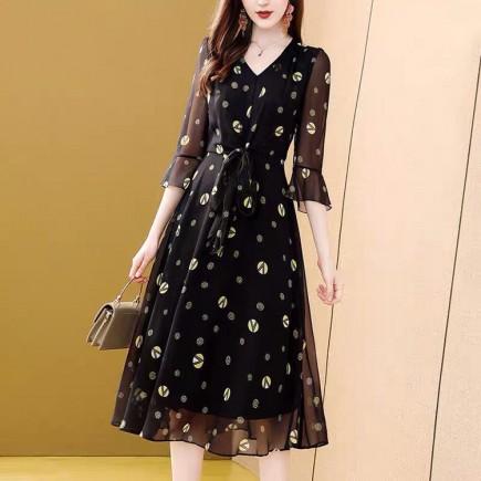 Váy liền họa tiết  tay lỡ - KV3332