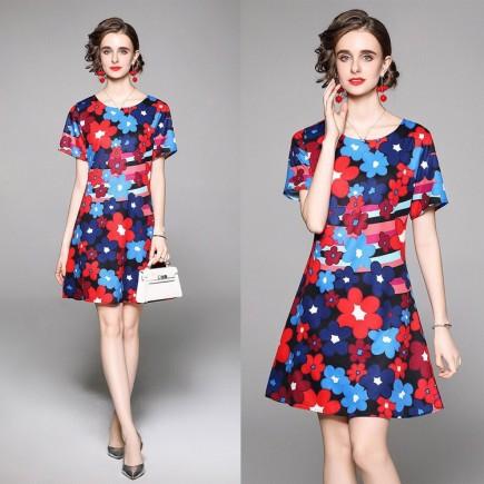 Đầm lụa họa tiết hoa - KV3339