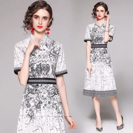 Đầm lụa cổ sơ mi họa tiết - KV3343