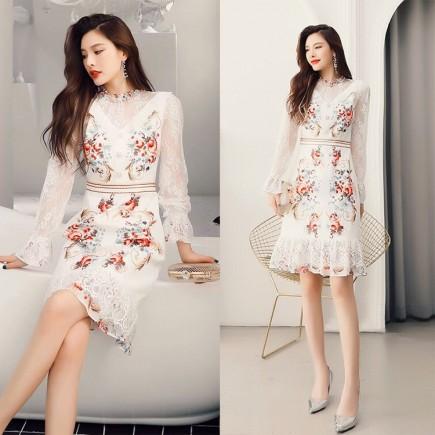 Đầm lụa họa tiết tay ren - KV3345