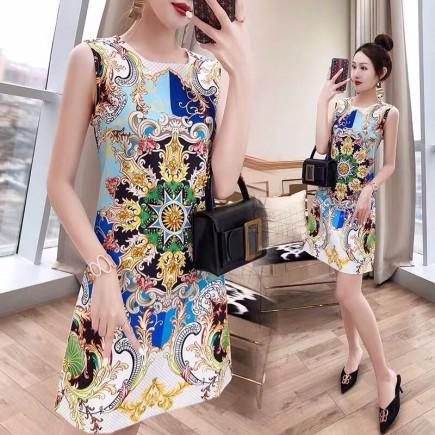 Đầm lụa họa tiết - KV3346