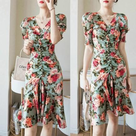 Đầm hoa phối nút - KV3362