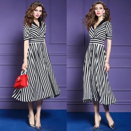 Đầm sọc cổ bẻ thời trang - KV2003