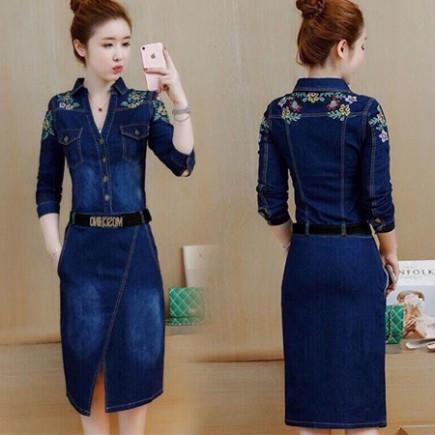 Đầm Jean Thêu Hoa Kèm Belt - KV2018