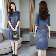Đầm Jean Thêu Hoa Hồng - KV2023