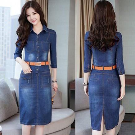 Đầm jean ôm kèm thắt lưng duyên dáng - KV2034