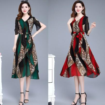 Đầm Họa Tiết Cột Eo Cao Cấp - KV2121