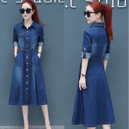 Đầm Jean Tay Dài Rút Dây - KV2156