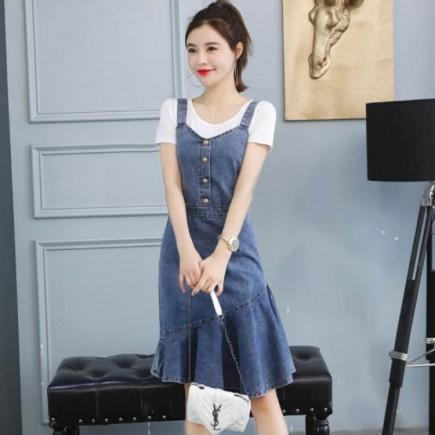 Đầm Yếm Jean Kèm Áo Thun - KV2158