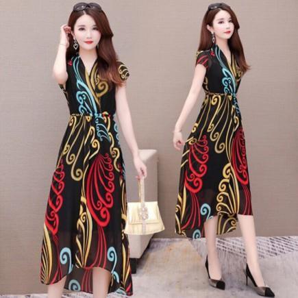 Đầm Voan Họa Tiết Cổ V - KV2159