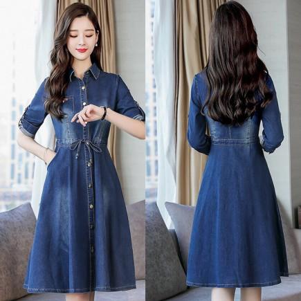 Đầm Jean Tay Dài Thời Trang - KV2101