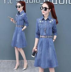 Đầm Jean Thêu Hoa Kèm Betl - KT2265