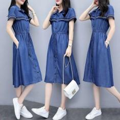 Đầm Jean Phối Sọc Cột Eo - KT2467