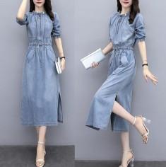 Đầm Jean Thắt Nơ Eo Tay Lỡ - KT2186