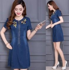 Đầm jean thêu hoa - KV1655