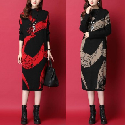 Đầm Len Họa Tiết Tay Dài - KT2447