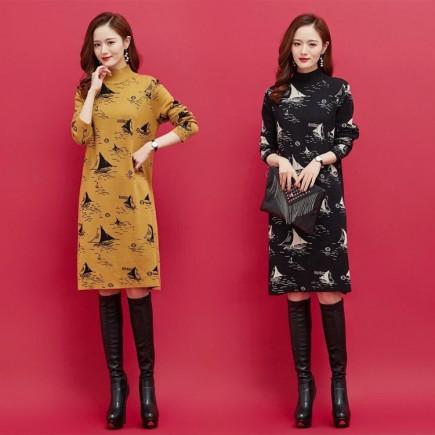 Đầm Len Họa Tiết Cánh Bườm - KT2503