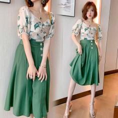 Set lụa 2 món chân váy áo họa tiết hoa - KT2825