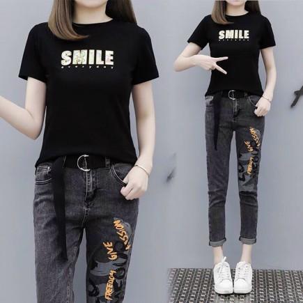 Set bộ jeans smile kèm belt - KV3306